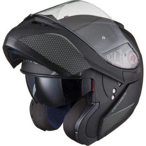 Casca moto flip up Black Optimus Casca moto flip up cu ochelari de soare si pinlock Black Optimus MAX SV