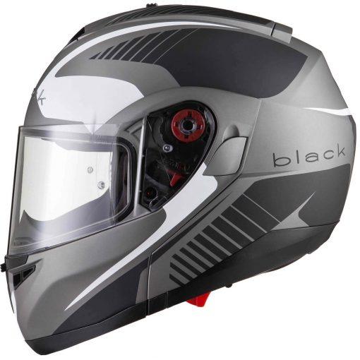 Casca Moto FlipUp Black Optimus SV Tour Max - Negru-Alb-Gri Mat