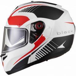 Casca Black Optimus SV Tour Max - Alb Mat/Gri/Rosu